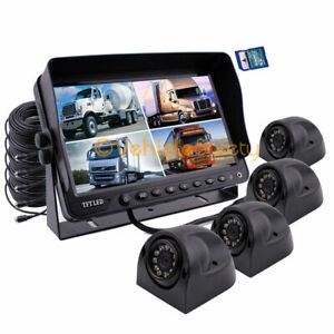 """9"""" Quad Monitor DVR Video Recorder 4 x CCD Side Camera 64GB For Truck Van System"""