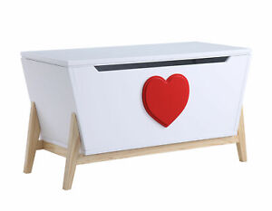 Acme Wooden Padma childs toy Chest Trunk Storage White and Red Heart RRP £249