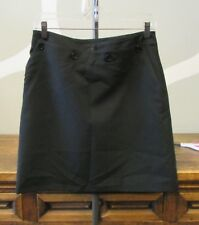 FRENCH CONNECTION 6 Black Button Tab Panel Front Double Pocket A Line Skirt