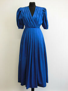Prinzessin Vintage Kleid Abenkleid Maxikleid Ballkleid Taftkleid Blau GR 36