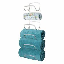 mDesign Metal Wall Mount Bathroom Towel Rack Holder, 6 Levels - Satin