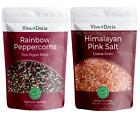 Viva Doria Rainbow Peppercorn, 12 oz - Himalayan Pink Salt Coarse Grain, 2 lb