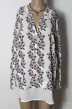 Bluse Gr. 42-44 creme-weiß Long Bluse/Tunika mit rot-blau-grauen Blumen