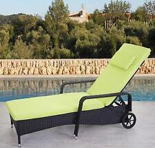 Chaise longue Carrara polyrotin, bain de soleil ~ anthracite, coussin vert clair