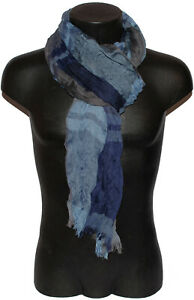 Pashmina Scarf Man Woman Check Scottish Crumpled Fringes Blue