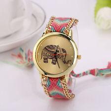 Women Bracelet Watch Elephant Pattern Weaved Rope Dial Quartz Watch Hot Pink US