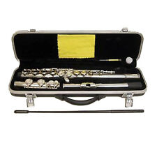 New Nickel Plated Band C FOOT Flute w Case +FREE Bag(Deep Blue)