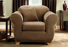 Sure Fit Stretch Stripe Chair Slipcover Box Style Seat Cushion in Brown 2 Piece