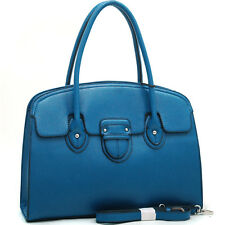 New Womens Handbags Leather Satchels Tote Bag Shoulder Bag Medium Purse Blue