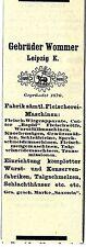 Gebrüder Wommer Leipzig Fleischerei- Maschinen Fabrik Historische Reklame 1912