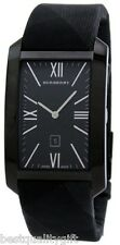 NEW BURBERRY BLACK ION PLAID NOVA HERITAGE CHECK SIGNATURE LEATHER WATCH BU1081