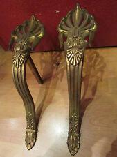 ancienne paire de supports tringle a rideau en laiton style empire epoque 19 eme