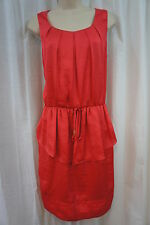 Vince Camuto Dress Sz 12 Coral Stretch Waist Sleeveless Pleated Top Casual