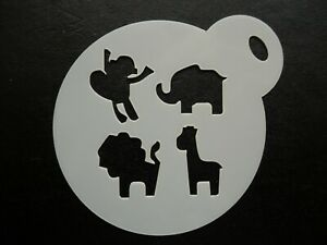 60mm baby jungle animals design cake, cookie, craft & face painting stencil