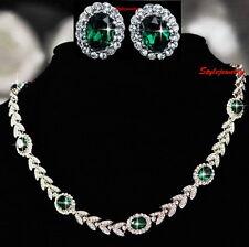 18k White Gold Filled Green Emerald Crystal Vintage Tennis Bridal Set XS15