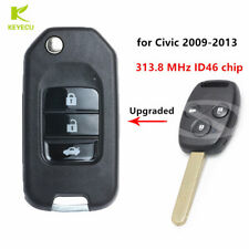 Upgraded Flip Remote Car Key Fob 313.8 MHz ID46 Chip for Honda Civic 2009-2013