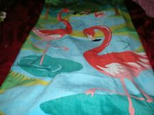 "TROPICAL PINK FLAMINGOSIN BLUE WATER, PALMS TOWEL PINK, GREEN, BLUE 30"" X 60"""