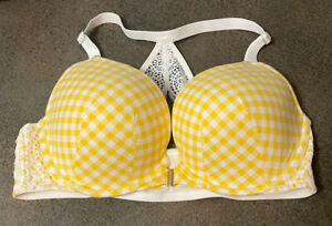 Lane Bryant Cacique Yellow Checkered Front-Close Boost Plunge Underwire Bra 40D