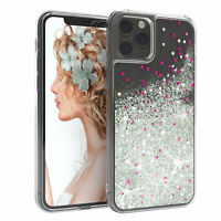 Für Apple iPhone 11 Pro Glitzer Hülle Flüssig Silikon Case Handy Cover Soft Grau