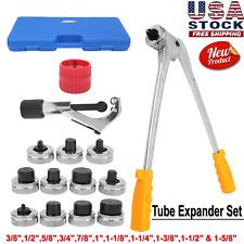 Heads Tube Expander Swaging Kit Plumbing Pipe Hvac Copper Tool 38 1 58
