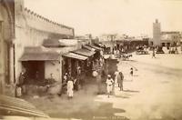 ND, Tunisie, Kairouan, La Place de Tunis  Vintage albumen print.  Tirage album