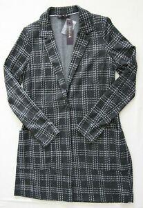 Long Tall Sally Womens Grey Longline Check Jersey Jacket BNWT UK Size 14