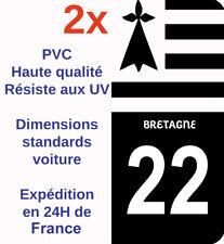 Sticker Autocollant immatriculation Département 22 Côtes-d'Armor Bretagne Noir