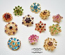 Pin Rhinestone Crystal Wedding Bouquet Diy Brooch Lot 12 Mixed Color Gold
