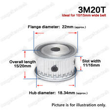 3M-20T Timing Belt Drive Pulley Wheel D-shaped Bore 3mm Pitch for 10/15mm Belt