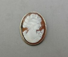 """Hand Carved Shell Cameo Pin Brooch Pendant Combo 800 Silver Antique 1 1/2"""" Crack"""