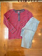 Tea Outfit Shirt Pant Set Boy Sz 7 Red Blue Gray Long Sleeve Striped 100% Cotton