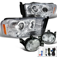 2002-2005 Dodge Ram Halo LED Projector Headlights+Fog Lights Clear Set