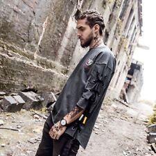 Hip Hop Men's Summer Street Wear T-Shirt Lace Up Arc Irregular Punk T-Shirt Tee
