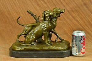 Zwei Große Vizsla Hund Tier Haus Haustier Von Debut Bronze Marmor Skulptur Gift