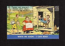 """Comic Postcard man reading book """"he kaint read, he's jest puttin' on airs"""" 1945"""