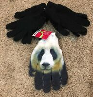 NWT Girls Black Joe Boxer Texting Black Pandas Fashion Gloves 3 Pair