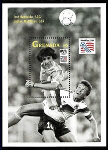 #9071 GRENADA 1993 SPORTS FOOTBALL SOCCER WORLD CUP 94 ARGENTINA+GERMAN PLAYERS