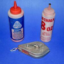 Vintage Irwin Self-Chalking Chalk Line Reel Metal Straight-Line Plumb Bob +Chalk