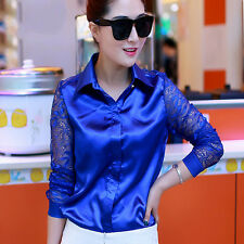 Women Satin Lace Long Sleeve Shirt Collar Slim Hollow Out Work Wear Top Fashion