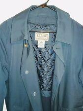 VTG  L.L. Bean Short Trench Coat Jacket Navy Blue Button Mens Medium FREE SHIP