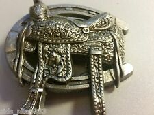 Old west Cowboy Belt Buckle with a Horse shoe Saddle Vintage pewter color Nice!