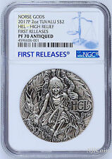 2017 P Norse Goddesses HEL HIGH RELIEF ANTIQUED 2Oz Silver $2 COIN NGC PF70 FR
