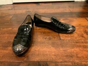 Miu Miu Black Patent Leather Loafers w/ Silver Toecap, Size 9 (US) 39 (EU)