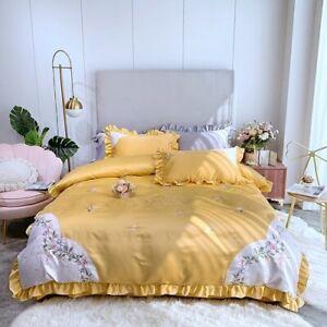 Glossy Satin Cotton Flowers Bedding Set Ruffles Duvet Cover Set Bed Sheet 4pcs
