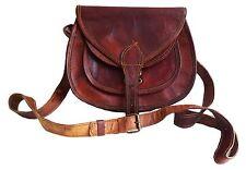 girl's Womens vintage real genuine saddle leather satchel handbag purse bag gift
