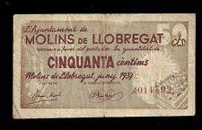 F.C. BILLETE DE MOLINS DE LLOBREGAT  50  CTMOS. S/A. B/C+. SUCIO.