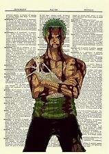 Roronoa Zoro One Piece Anime Dictionary Art Print Poster Picture Manga Book