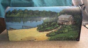 "Jackes Evans Post Mount MAILBOX Hand Painted Pond Rural Dock 19"""