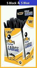 BIC 10 x Cristal 1.6mm Large 5 x BLACK 5 x BLUE Bold Line Pens
