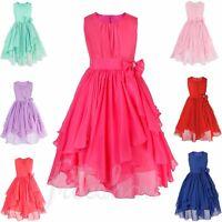 Flower Girls Chiffon Wedding Party Tulle Dress Kids Princess Bridesmaid Dresses